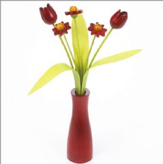 3 red Daisies, 2 red Tulips with 3 green leaves with red 'cool' vase